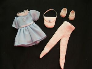 """MADELINE 8"""" DOLL LIGHT BLUE SATIN DRESS WHITE TIGHTS MARY JANES PURSE  EXCELLENT"""