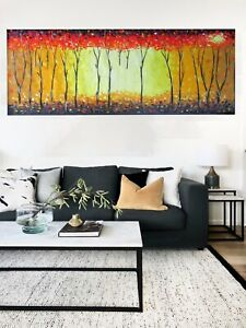 Bush Fire Tree landscape art painting oil canvas original Large wall décor