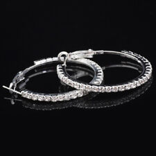 Crystal Hoop Silver Plated Earrings with Cubic Zirconia Rhinestone for Women V