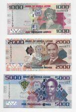 Sierra Leone 2010 banknote set (1000, 2000, 5000 Leones) P30, 31, 32 (UNC)