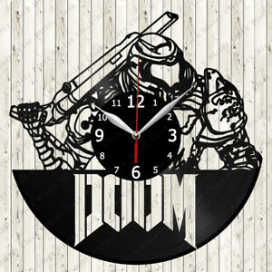 Doom Vinyl Record Wall Clock Decor Handmade 6260