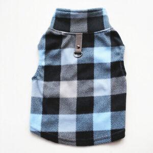 Warm Fleece Plaid Small Pet Dog Jacket Vest Outfit D-Ring Puppy Cat Coat Clothes