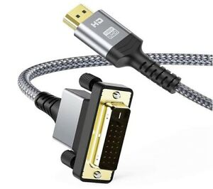 1M DVI to HDMI Bi Directional Nylon Braided Cable Support 1080P Full HD