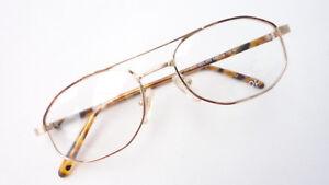 Fassung Brille Gestell Metall gold braun Herren Doppelsteg Pilot Form Grösse M