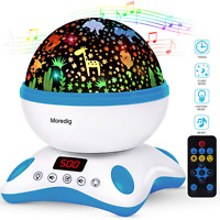 Moredig Baby Projector, 360 Degree Rotating Musical Night Light with Remote and