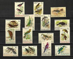 Norfolk Is. 1970-71 Definitive Set ( Birds) Sc#126-40 MNH