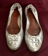 Tory Burch Metallic Silver Reva Leather Ballet Flats 9M