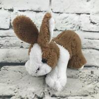 Bunny Rabbit Plush White Brown Cute Mini Stuffed Animal Soft Toy