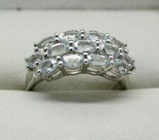 Sterling Silver Espirito Santo Aquamarine Dress Ring Size R.1/2