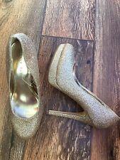 Shoebox Donna Gold Shimmer Punta Tonda tribunali Plateau Misura 4 EUR 37