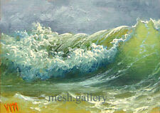 ORIGINAL ACEO OIL PAINTING SEASCAPE Expressionism Surfing Wave Hurricane Wave