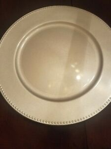 Set of 6 Silver Charger Plate upc 639277375698