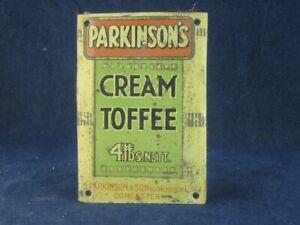 53402 Old Vintage Antique Tin Sign Shop Advert N0t Enamel Toffee Parkinson
