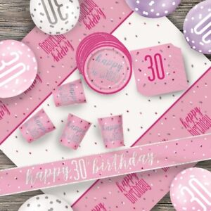 Pink Glitz 30th Birthday Party Supplies Decorations (Confetti Strings Napkins)