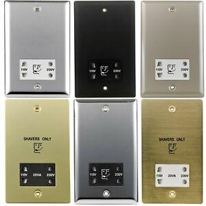 Volex 230V 2 Gang Metal Decorative Dual Voltage Bathroom Shaver Socket Outlets