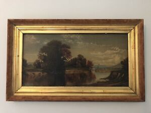 Antique Signed Oil Painting.  Ohio River Valley Landscape Painting