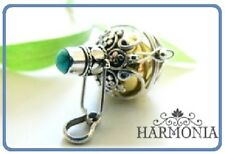 Harmony Ball Sterling Silver 925 Pendant Necklace 22mm TurquoiseCrystal Gift Set