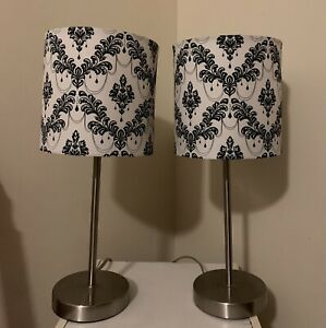 Two Small Black And White Lamps