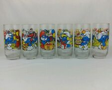 Set Of 6 Peyo 1983 Celebration Party Smurfs Collectable Character Glasses!