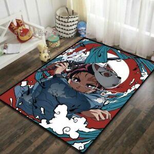 New Demon Slayer Velboa Floor Rug Carpet Room Doormat Non-slip Chair Mat Bedroom