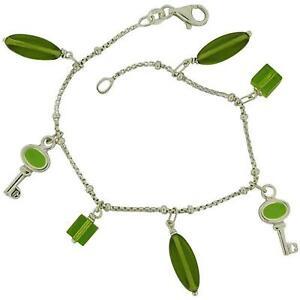 "TOC Sterling Silver Green Resin Beads Key Charm Bracelet 7.5"""