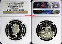 New Zealand Elizabeth II  PROOF 1986 50 Cents NGC PF66 ULTRA CAMEO H.M.S.KM# 63