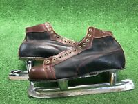 Vintage Nestor Johnson High Speed Racing Ice Skates SZ 12 Black Brown Leather