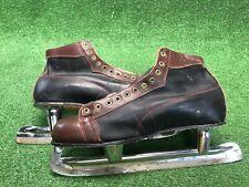 Vintage Nestor Johnson High Speed Racing Ice Skates Sz 12 Black Brown Leather