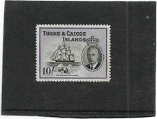 TURKS & CAICOS ISLANDS 1950 PICTORIAL 10/- DEPENDENCY BADGE SG233 UNMOUNTED MINT