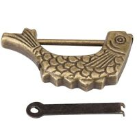 Retro Fish Shaped Bronze Metal Lock Old Chinese Padlock For Drawer Jewelry Box