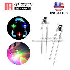 100pcs 3mm Flat Top Water Clear Slow Rainbow Flash RGB flashing LED Diodes USA