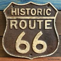 Historic Route 66 Cast Iron Plaque Sign Antique Rustic Vintage Embossed Finish