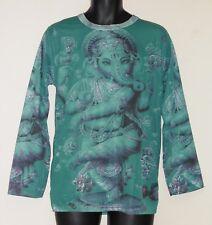 Ganesh Print Green Retro Style Mens Long Sleeve T-Shirt Small/Medium