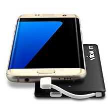 Slim Portable Power Bank Battery Charger with Built-in Cable and 2 USB adapters