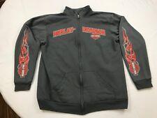 Harley Davidson Jacket Thick Zipper Front Track Jacket Biker Motorcycle Mens L