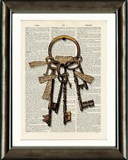 Vintage Dictionary Book page Art Print - Antique Keys 1 Steampunk Wall Art