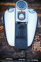 Black Leather Gas Tank Panel Bib Retro Number One Harley Davidson Softail Dyna