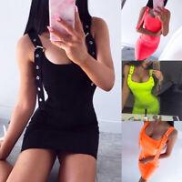 Women Sexy Bodycon Slim Party Dress Summer Neon Bright Buckle Straps Mini Dress