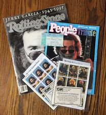 Collection Of Jerry Garcia Memorabilia, Magazines, Stamps, Concert Ticket-
