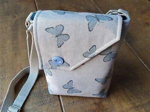 Butterfly design, Hand Made, Cross Body Bag. 100% Cotton