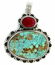 Sterling Silver Persian Turquoise Red Coral Cabochon Cab Gem Gemstone Pendant