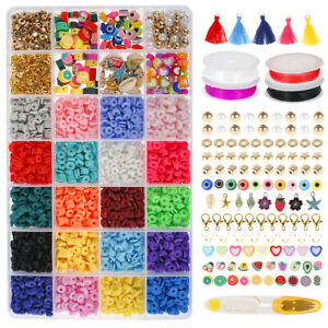 4000Pcs/Box Clay Spacer Beads 20 Colors 6mm Flat Round Clay Beads with 4 Roll