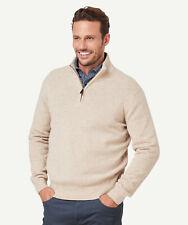 GAZMAN Men's Wool Blend 1/2 Zip Knit Natural