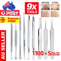 9Pcs Set Blackhead Extractor Tool Remover Pimple Blemish Comedone Kit Acne Clip