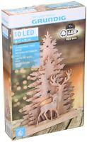 Sapin de Noël Avec Cerf 35x21cm en Bois Avec Éclairage LED Grundig