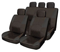 ALL Black Cloth Seat Cover Set Shoulder Pads Split Rear fits Hyundai Getz Coupe