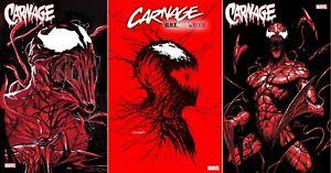 CARNAGE BLACK WHITE AND BLOOD #1 3-BOOK VARIANT SET NM SPIDER-MAN VENOM KNULL