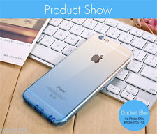 Gradient Soft Silicone TPU Candy Colour Back Cover Case for iPhone 6S & 6 BLUE