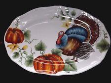 """Thanksgiving Turkey Pumpkin Platter by Maxcera 17"""" New !"""
