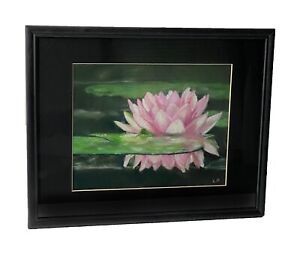 Original Pastel Drawing Pink Lotus Flower and Leaves in Water 7.5 by 9.5 in